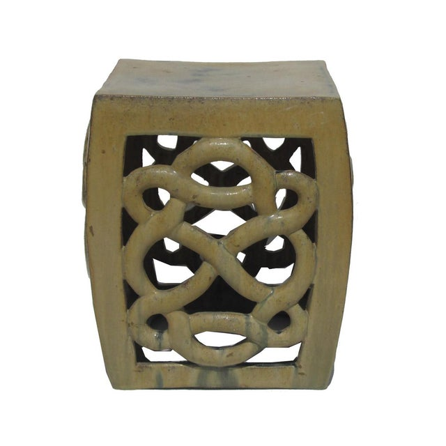 Cream Yellow Ceramic Clay Twist Knot Square Stool Ottoman - Image 3 of 5