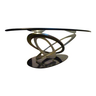 Abstract Modern Glass & Metal Coffee Table