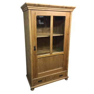 Antique Rustic Wood Armoire With Glass Doors