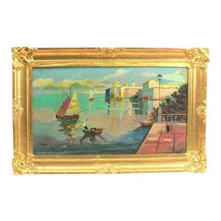 1930s Mediterranean Fine Oil Painting by Giuseppe Novello, Vintage Italian Art