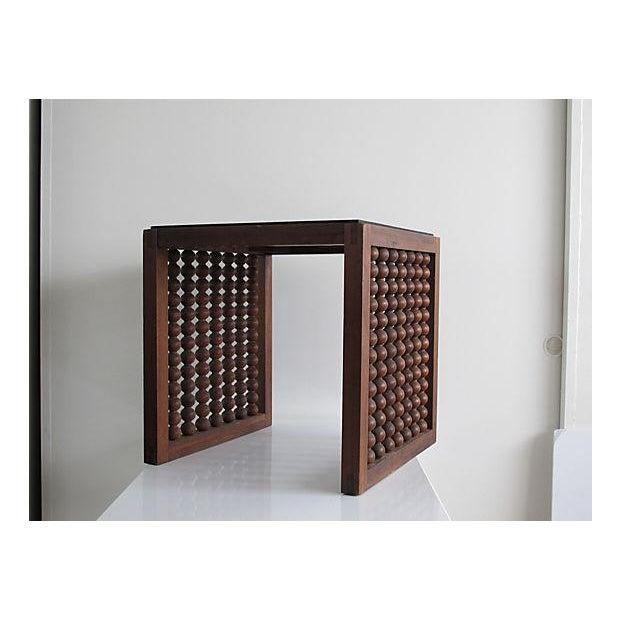 Image of Turned Wood Walnut Side Table