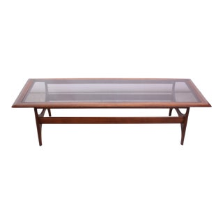 Mid Century Sculptural Walnut and Glass Coffee Table by Lane