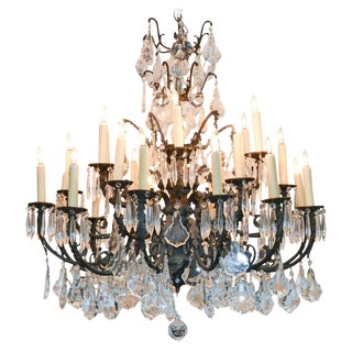 French Louis XV Bronze & Crystal Chandelier