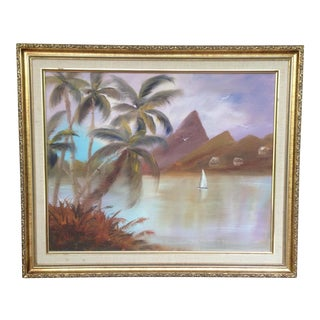 Vintage Tahitian Beach Style Oil Painting