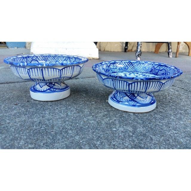 Antique Blue & White Terracotta Bowls- A Pair - Image 2 of 4