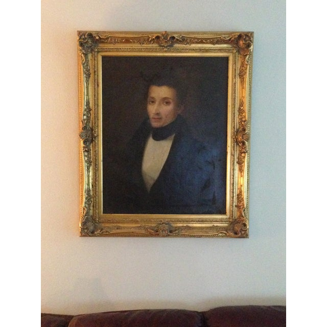 Image of 1800s Oil Portrait Painting With Gold Frame