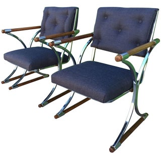 Cleo Baldon Chrome-Oak Campaign Chairs - A Pair
