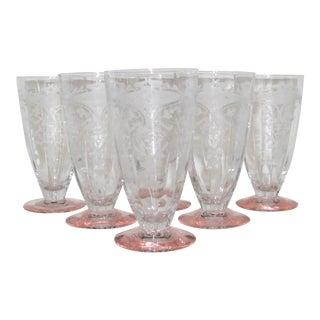 Vintage Etched Glasses, Set of 6