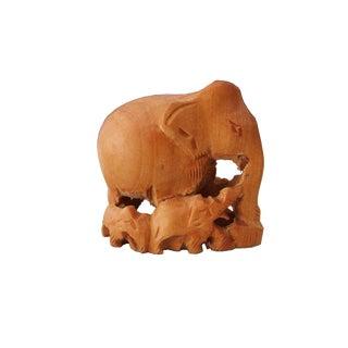 Carved Wood Elephant Family Figurine