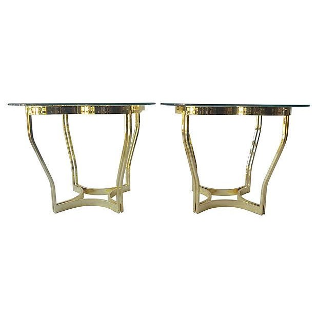 Brass Clover Side Tables - Pair - Image 1 of 3