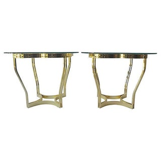 Brass Clover Side Tables - Pair