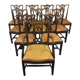 Chippendale Style Carved Mahogany Upholstered Dining Chairs - Set of 8