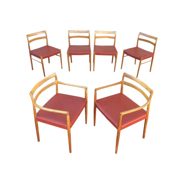 Danish Modern Teak Dining Chairs - Set of 6 - Image 1 of 10