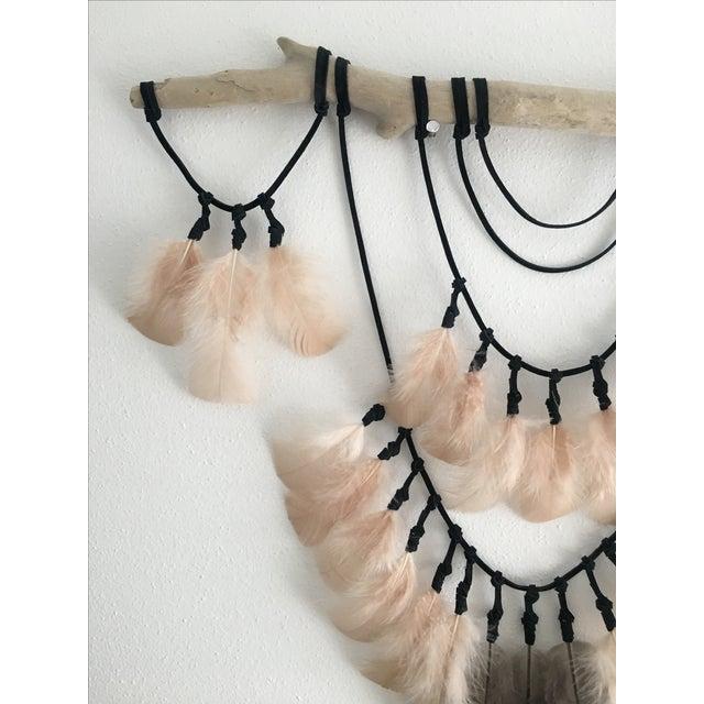 Image of Nude & Metallic Feathers on Driftwood Wall Decor
