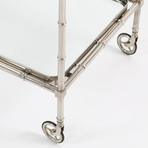 1960S SWEDISH POLISHED-NICKEL, FAUX-BAMBOO BAR CART ON CASTERS - Image 5 of 10
