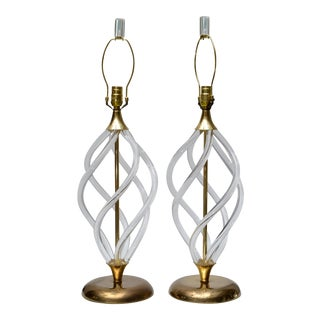 Hollywood Regency Dorothy Thorpe Attributed Lucite and Brass Lamps, Pair