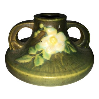 Roseville Floral Pottery Candlestick