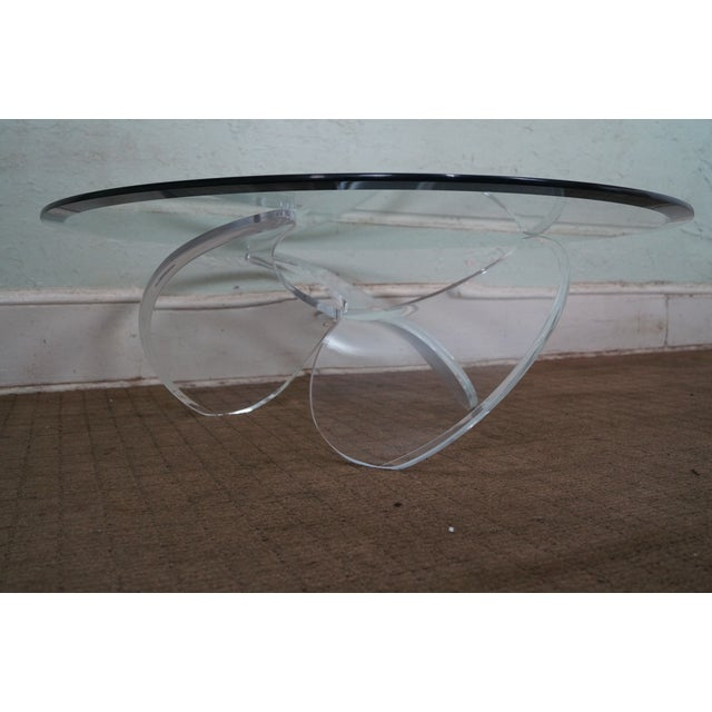 Knut Hesterberg Glass Top Lucite Base Coffee Table - Image 4 of 10