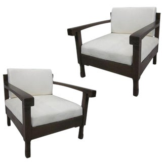 Pair of French Colonial Armchairs with Exquisite Line and Form