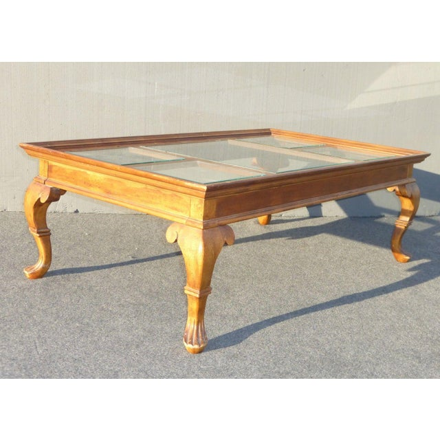 French Country Coffee Table And End Tables: Vintage French Country Glass Top Wooden Coffee Table
