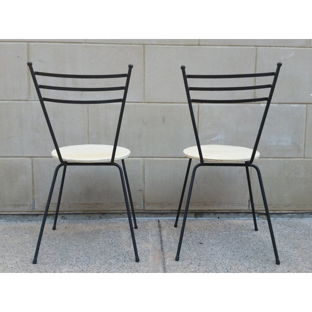 Image of Mid-Century Petite Wrought Iron Cafe Chairs - Pair