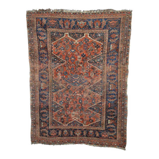 "Distressed Antique Persian Tribal Rug - 3'7"" X 4'9"" - Image 1 of 9"