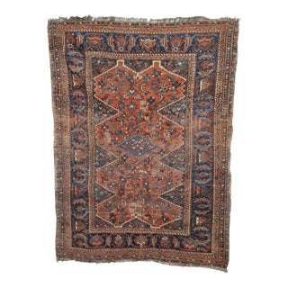 """Distressed Antique Persian Tribal Rug - 3'7"""" X 4'9"""""""