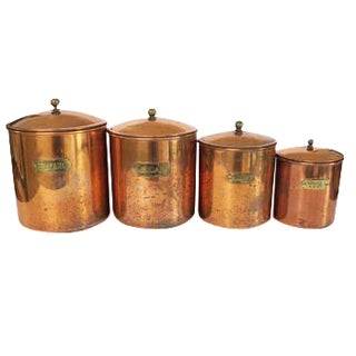 Vintage Copper Brass Stainless Canisters - Set of 4
