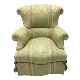 Antique French Green Brocade Chair