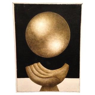Art Deco Surrealist Gold Oil Painting