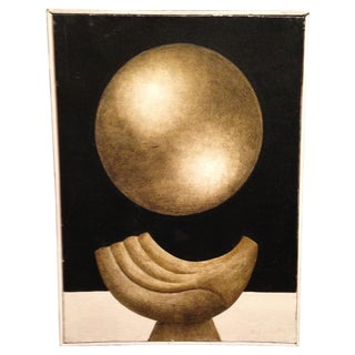 Art Deco Surrealist Gold Oil Painting