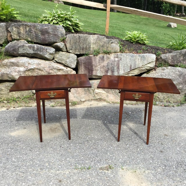 Cherry Drop Leaf End Tables - A Pair - Image 2 of 11