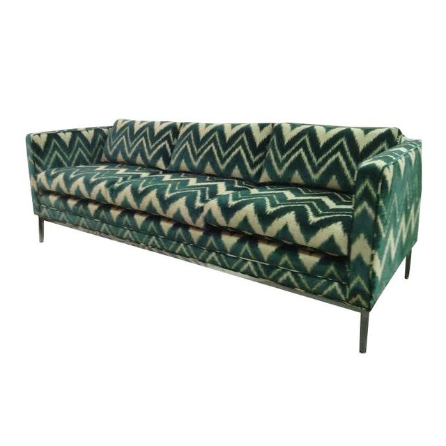 Vintage Chrome and Chevron Print Knoll Sofa - Image 1 of 6