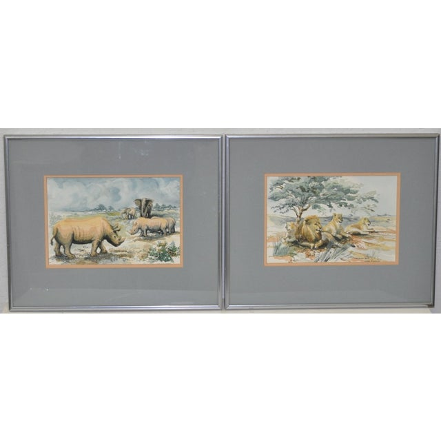 Image of African Wildlife Watercolor Paintings - A Pair