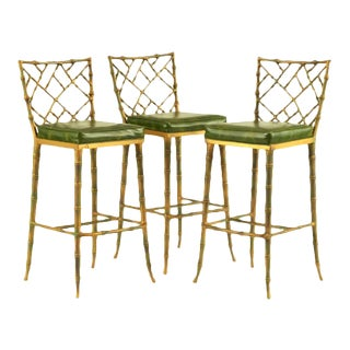 Faux Bamboo Kessler Barstools - Set of 3