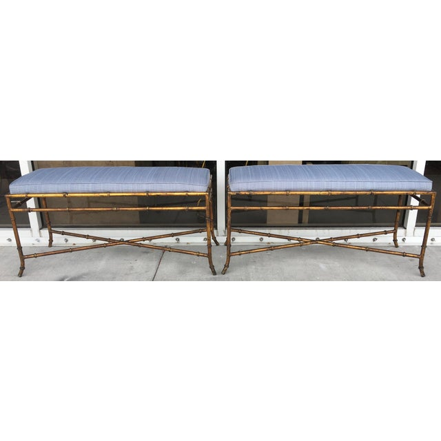 Vintage Faux Bamboo Base Benches - A Pair - Image 2 of 5