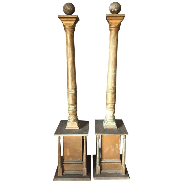 Vintage 1960's Gold Architectural Columns - Pair - Image 1 of 5