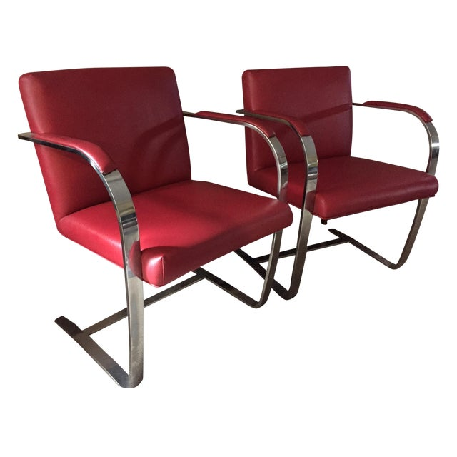 Image of Vintage Modern Red Leather Chrome Chairs - A Pair