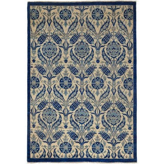 Blue Suzani Hand-Knotted Rug - 6' x 9'