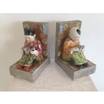 Image of Asian Antique Ceramic Bookends - A Pair