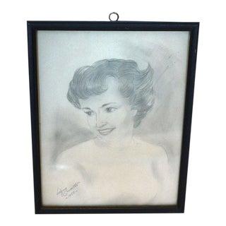 1950's Woman Pencil Drawing