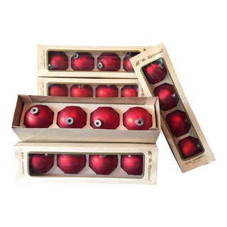 Vintage Red Globe Ornaments - Set of 35
