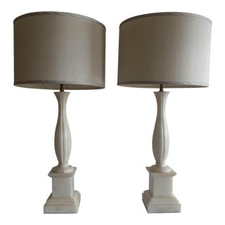 """Antique Alabaster Lamps (Pr.) Tall Elegant Fine-Lineation 33"""" Gray Shades (new) Excellent"""