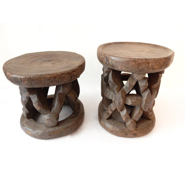 Bamileke Cameroon Low Stools - Pair - Image 5 of 7