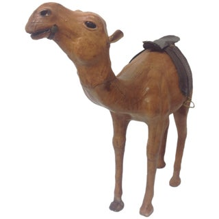 Large Mid Century Leather Covered Camel Sculpture