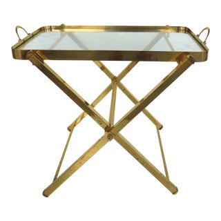 Folding Brass Bar Stand W/ Removeable Glass Tray