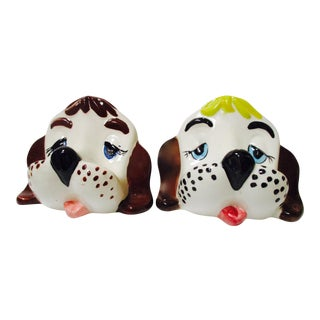 Vintage Ceramic Puppy Eyeglass Holders - A Pair