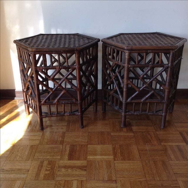 Rattan Chinese Chippendale Fretwork Tables - Pair - Image 3 of 8