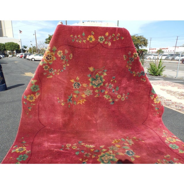 Authentic 1930s Art Deco Chinese Handmade Rug - Image 3 of 9