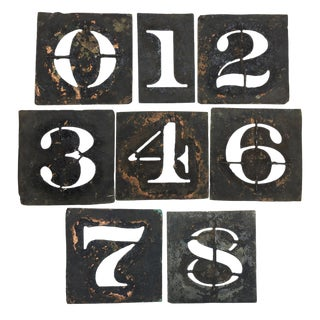 Vintage Metal Number Stencils - Set of 8
